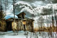 this old trout lake log house ~ landscape