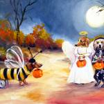 """Happy Halloweenie The Buzz  Dachshunds SM Violano"" by stella"