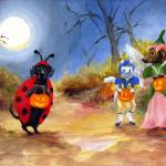 """Happy Halloweenie Dachshund dogs SM Violano"" by stella"