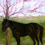 """Big Black Horse and A Cherry Tree"" by DeborahSprague"