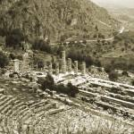 """Temple of Apollo and Theatre, Delphi 1960 Gold-ton"" by PriscillaTurner"