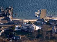 Stage Harbor Yach Club and Pier Aerial Photo