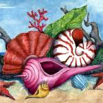 """Beach Shells Painting"" by SherryHolderHunt"