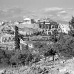 """Athenian Acropolis from Philopappou Hill, 1960 B&W"" by PriscillaTurner"
