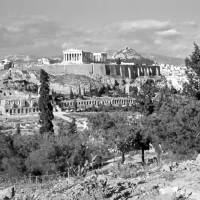 Athenian Acropolis from Philopappou Hill, 1960 B&W Art Prints & Posters by Priscilla Turner