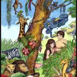 """Bible Stories: Garden of Eden Watercolor Painting"" by SherryHolderHunt"