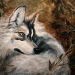 """Autumn Wolf- Wildlife painting Violano"" by stella"