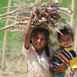 """Girl carrying firewood and child"" by ankurbetageri"