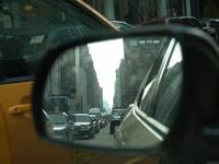 NEW YORK STREET IN A MIRROR