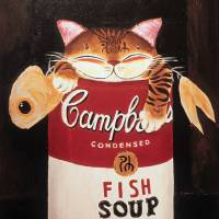 """Cat art by catmaSutra  Fishsoup"" by Paul Koh"