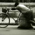 """""""Man Pushing Bike in Beijing"""" by paulblackthornephotos"""