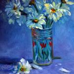 """Juice Glass with Daisies"" by maryanncleary"