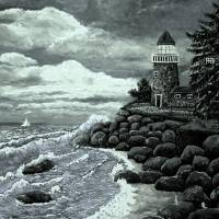 Madeline's Lighthouse ~Black & White~ArtRevu Art Prints & Posters by Ave Hurley