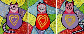 3 funky cats with golden hearts