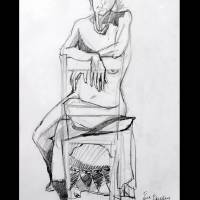 """Seated nude resting on chair back"" by David Bleakley"