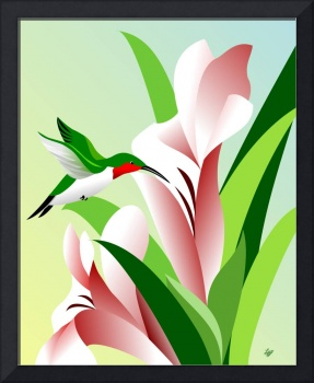 framed hummingbird art