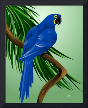 Blue Parrot Bird Art