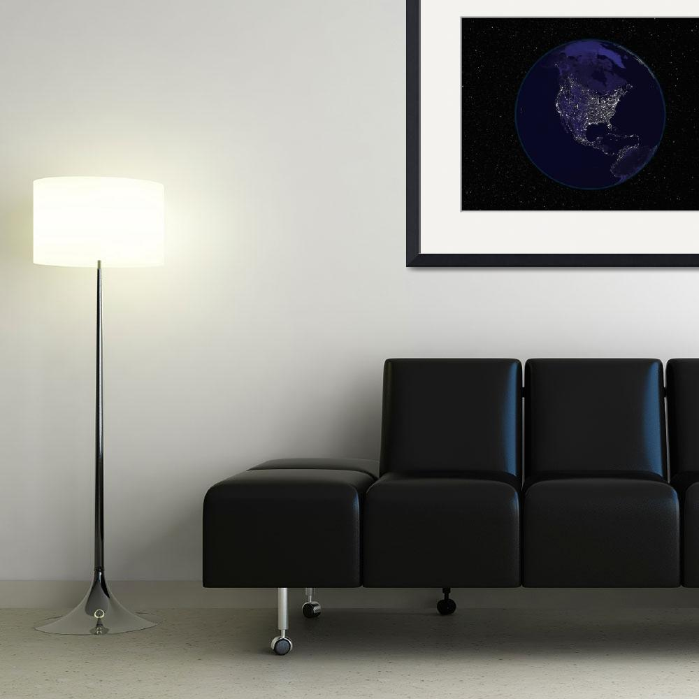 """Fully dark city lights image of Earth centered on&quot  by stocktrekimages"