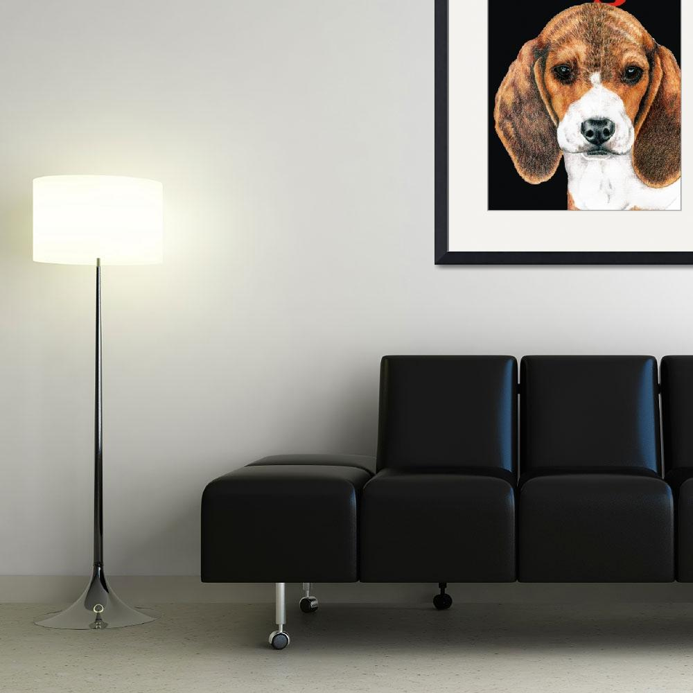 """Black Pop Pup Beagle Puppy&quot  (2009) by KathleenSepulveda"