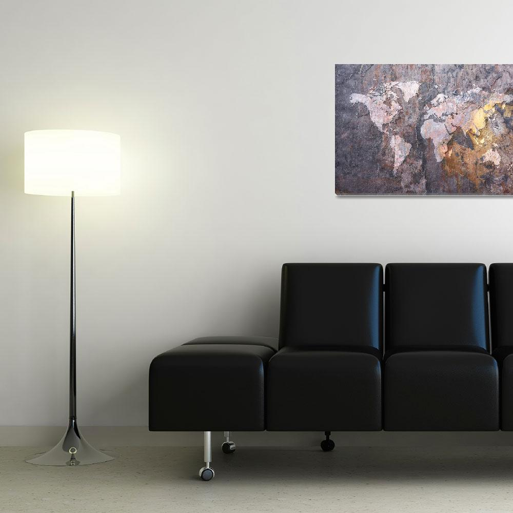 """World Map on Stone Background&quot  (2012) by ModernArtPrints"