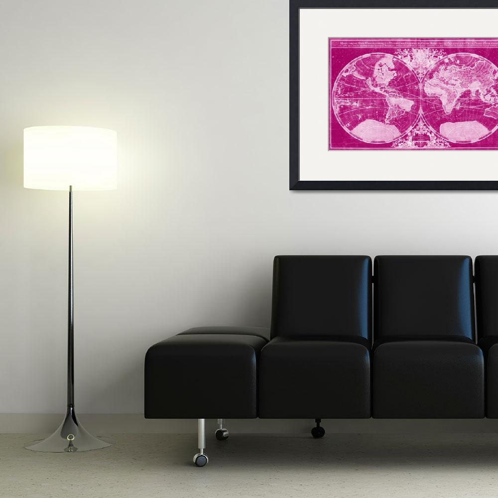 """World Map (1691) Pink & Light Pink&quot  by Alleycatshirts"