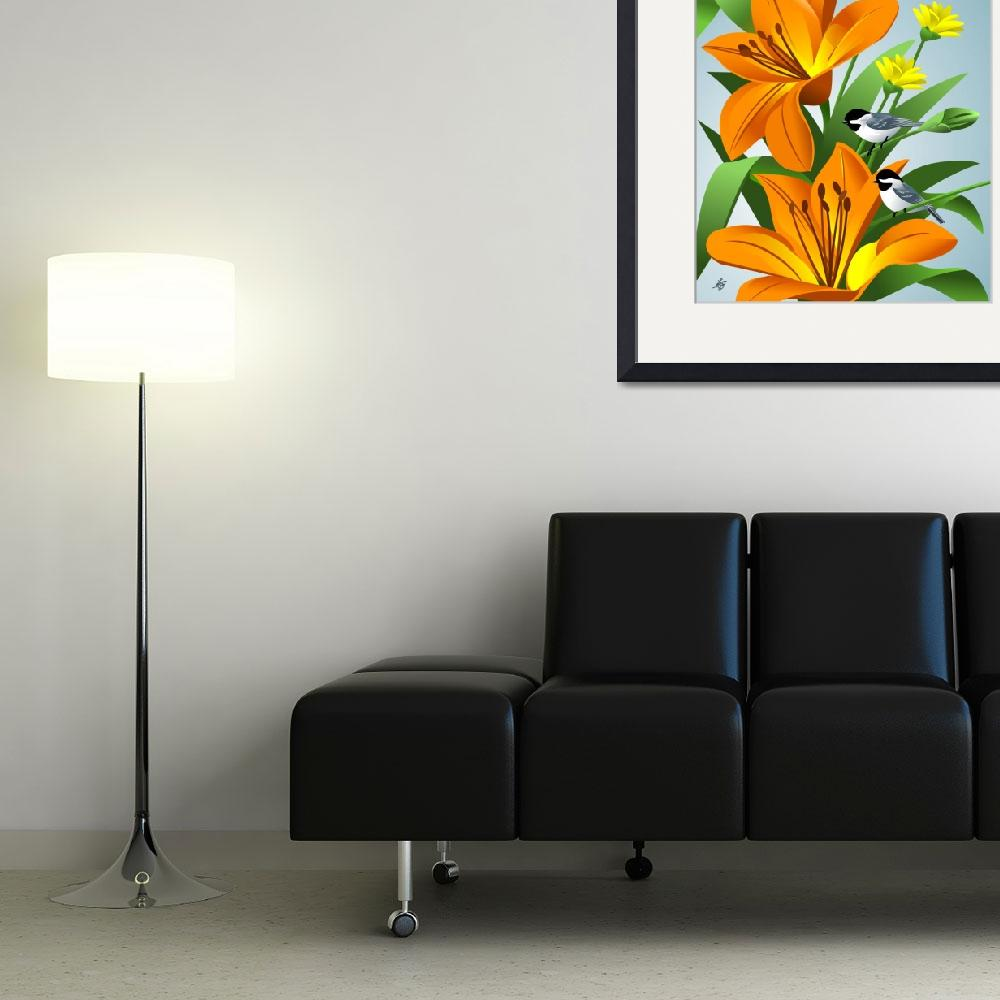 """Chickadees Among Lilies Art&quot  by waterart"