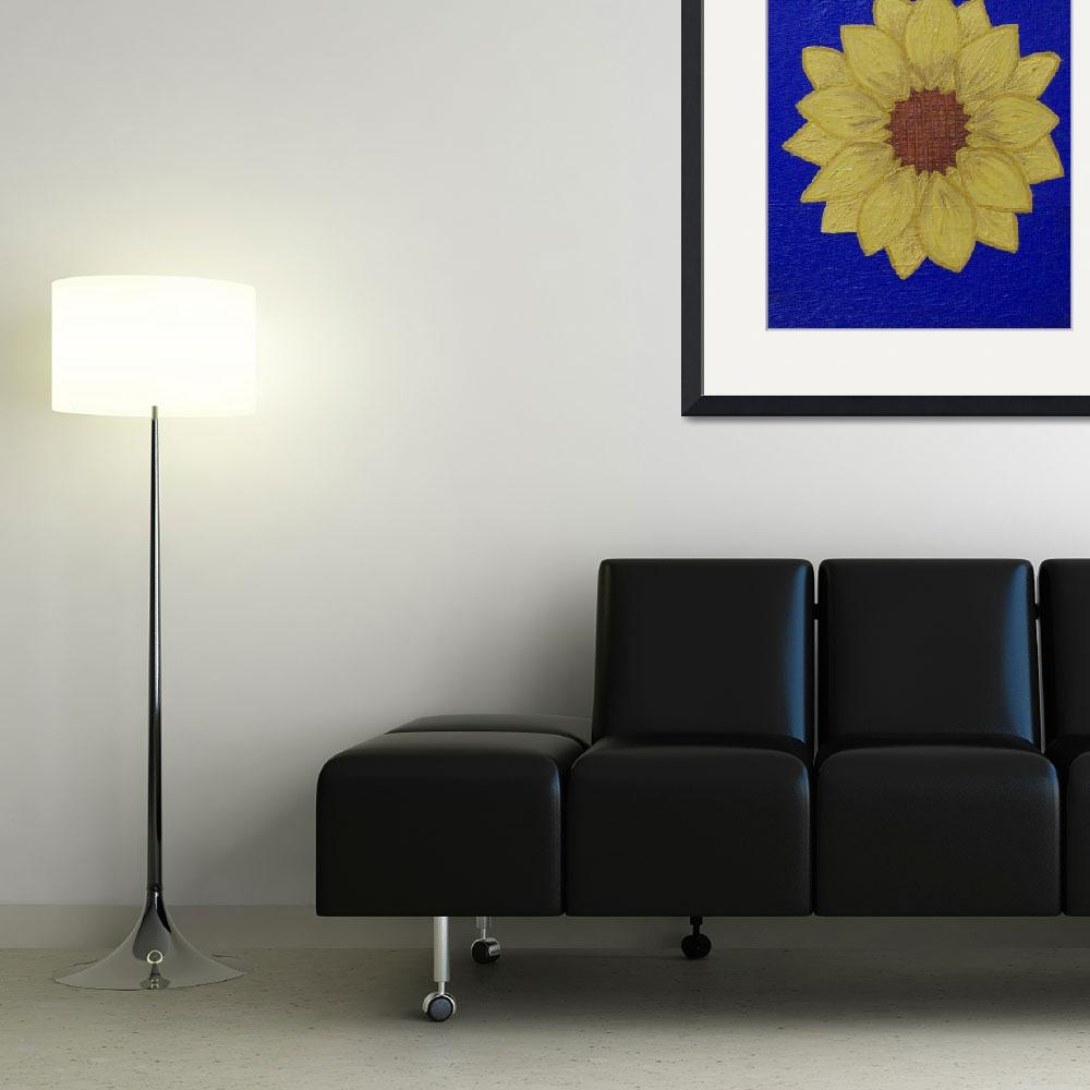 """yellow daisy blue background&quot  (2010) by bbeards4"