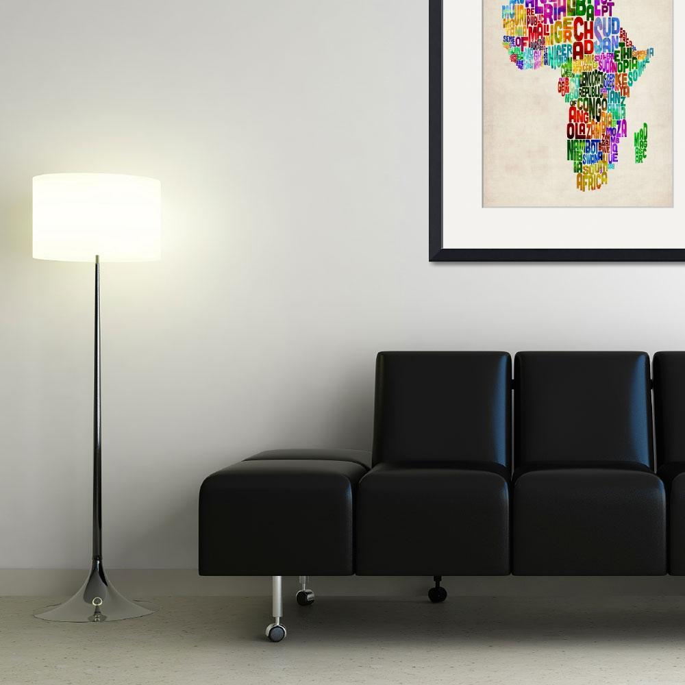 """Typography Map of Africa&quot  (2012) by ModernArtPrints"