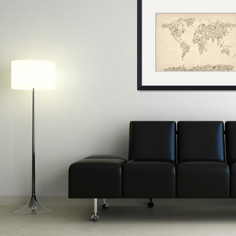 """Music Notes Map of the World Map&quot  (2012) by ModernArtPrints"