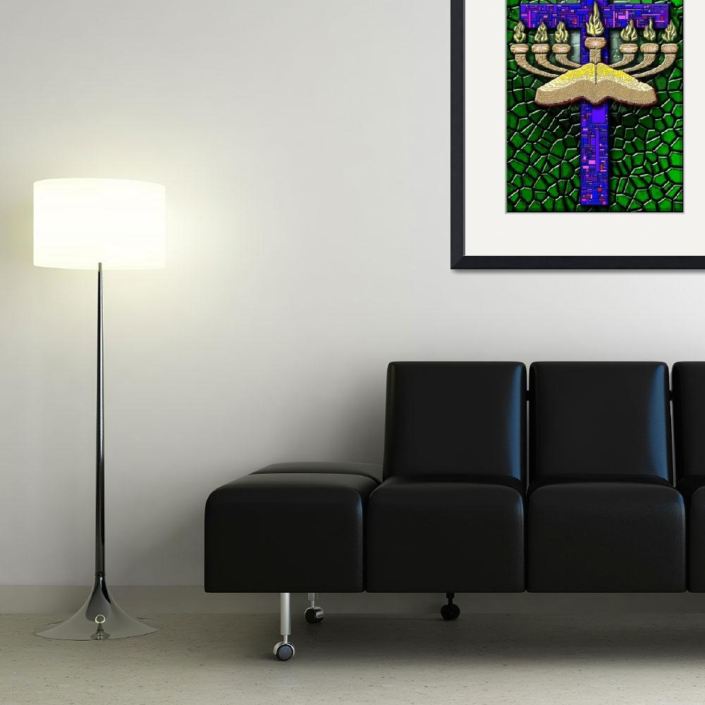 """Menorah Cross on Green&quot  (2007) by DCLWolf"