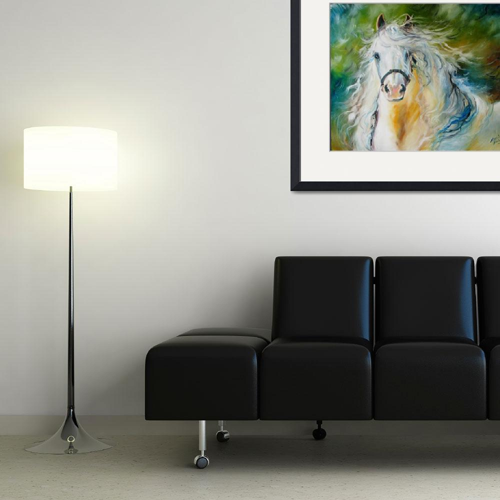 """CLOUD the White Andalusian&quot  (2009) by MBaldwinFineArt2006"