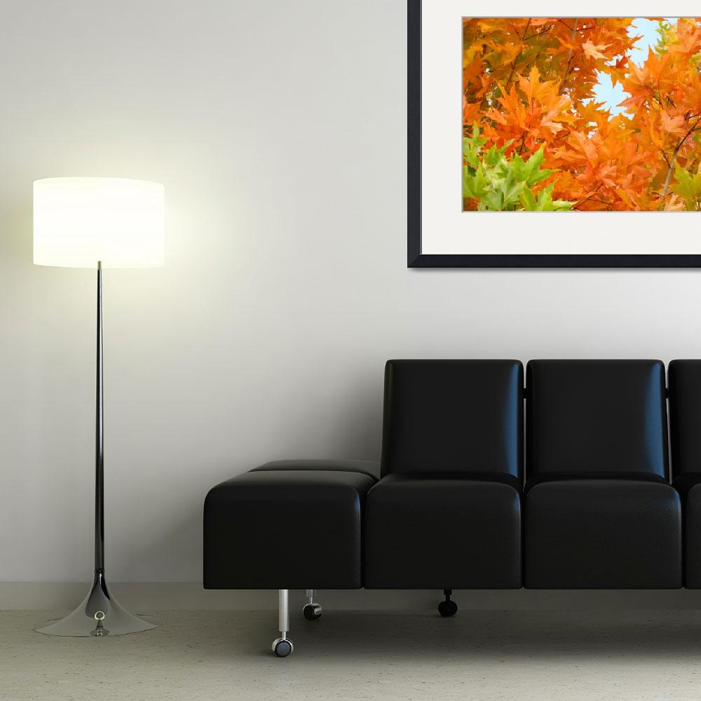 """Orange Green Autumn Leaves Art Prints Nature&quot  (2014) by BasleeTroutman"
