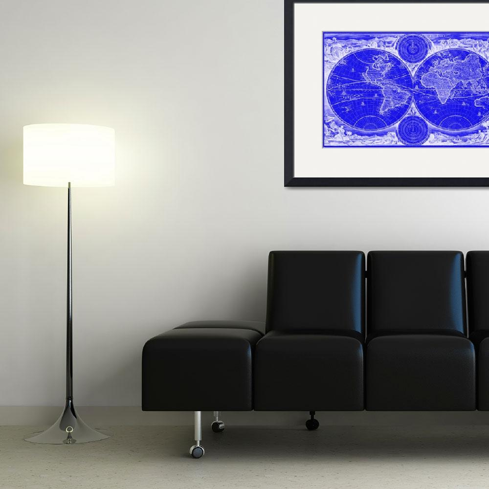 """World Map (1730) Blue & White&quot  by Alleycatshirts"