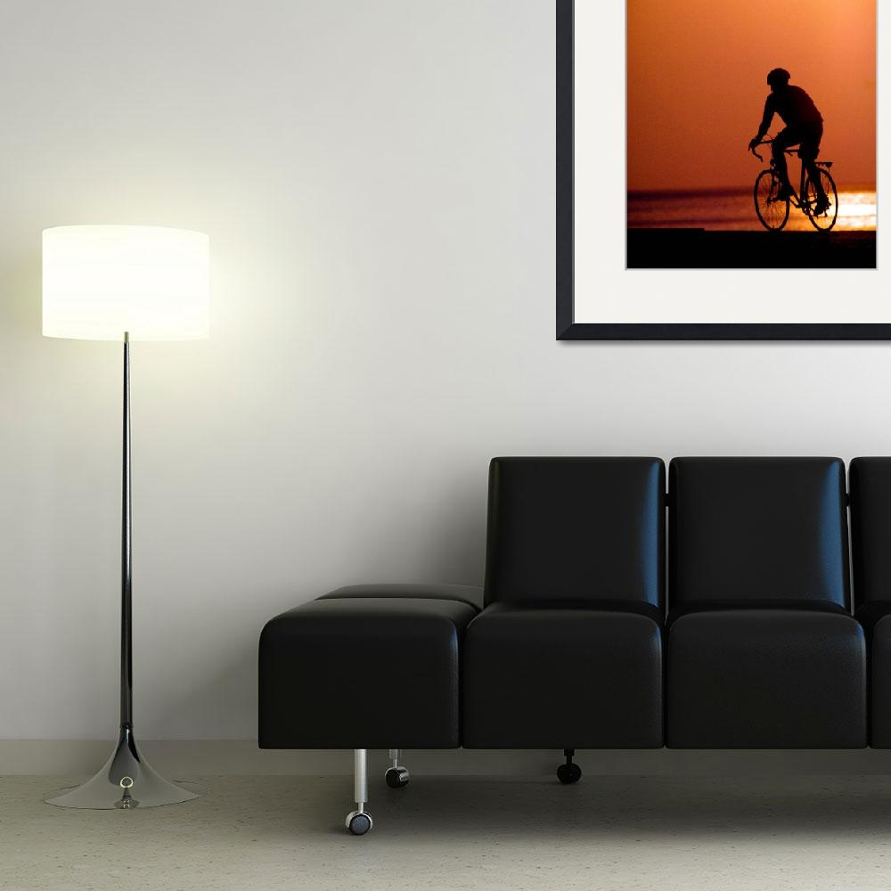 """Silhouetted Biker Rider Sunrise&quot  (2000) by TomJelen"