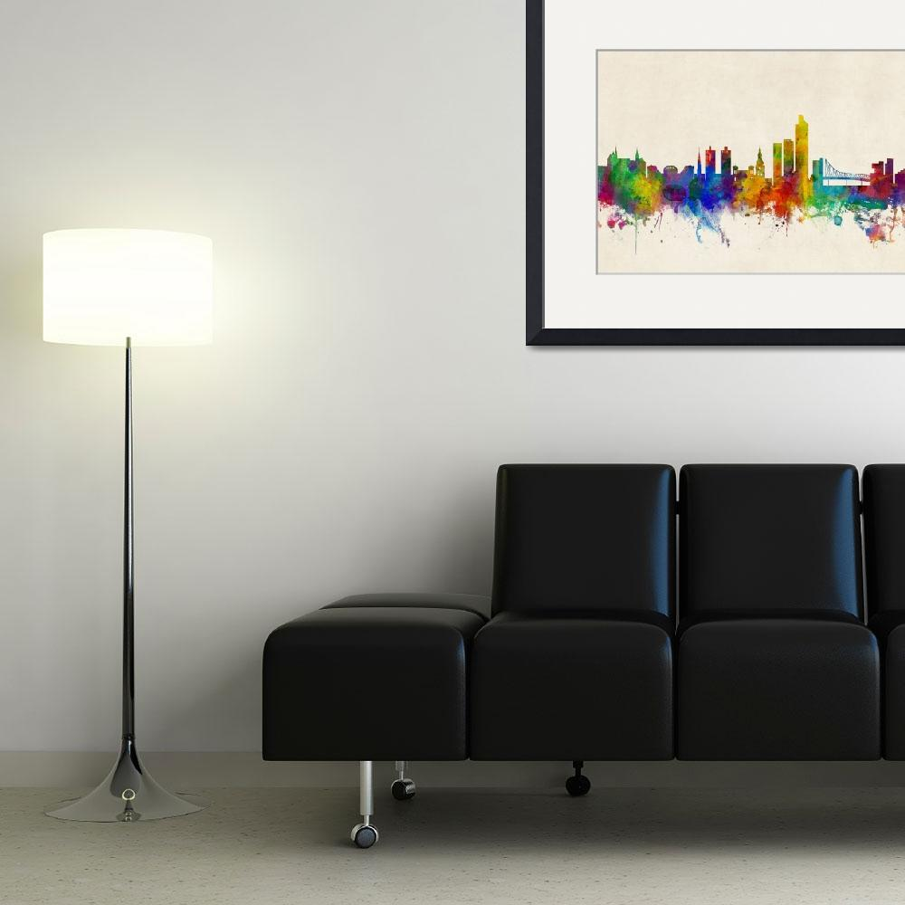 """Oslo Norway Skyline&quot  (2016) by ModernArtPrints"