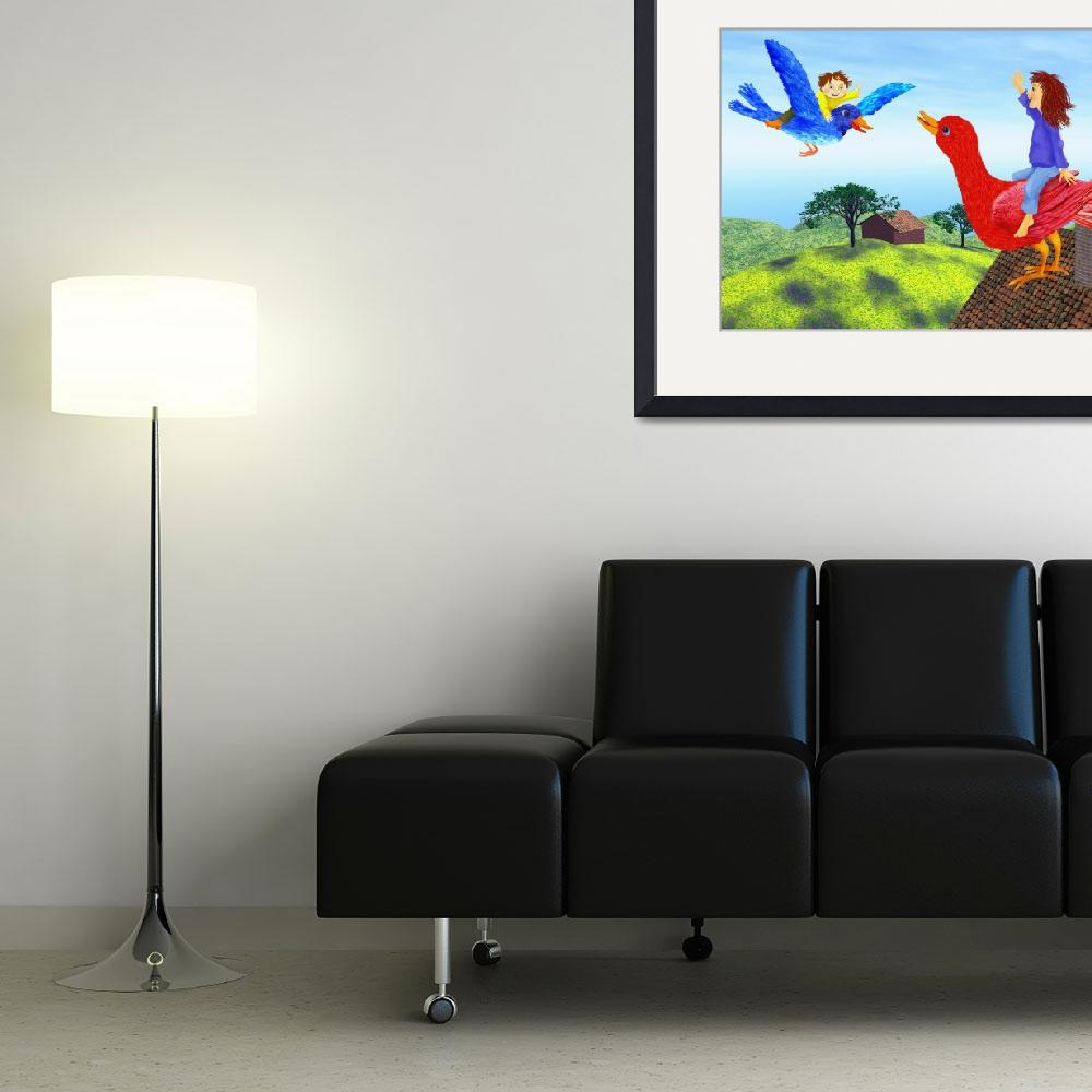 """green,blue,childrens room,nursery decor,canvas art&quot  (2010) by MarianneIlevitzky"