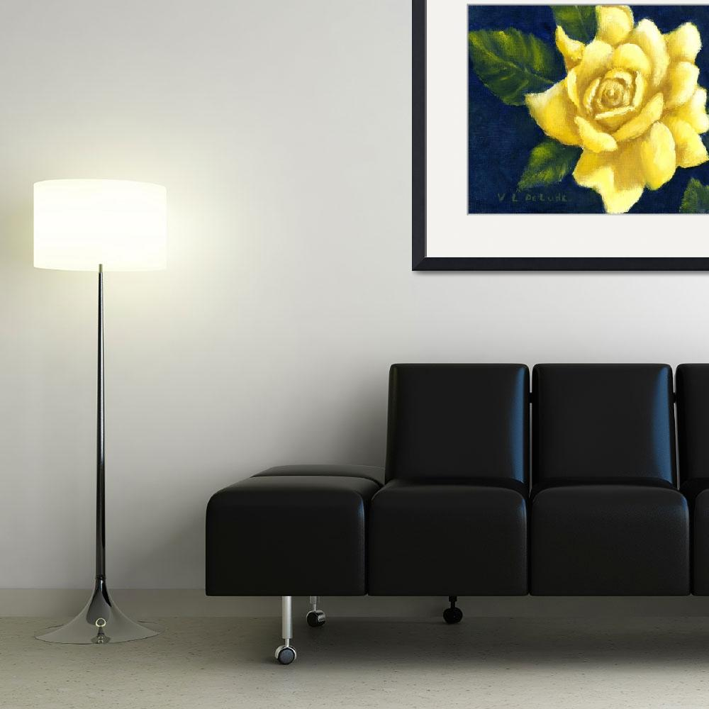 """Yellow Rose Art in Blue&quot  (2003) by Lenora"