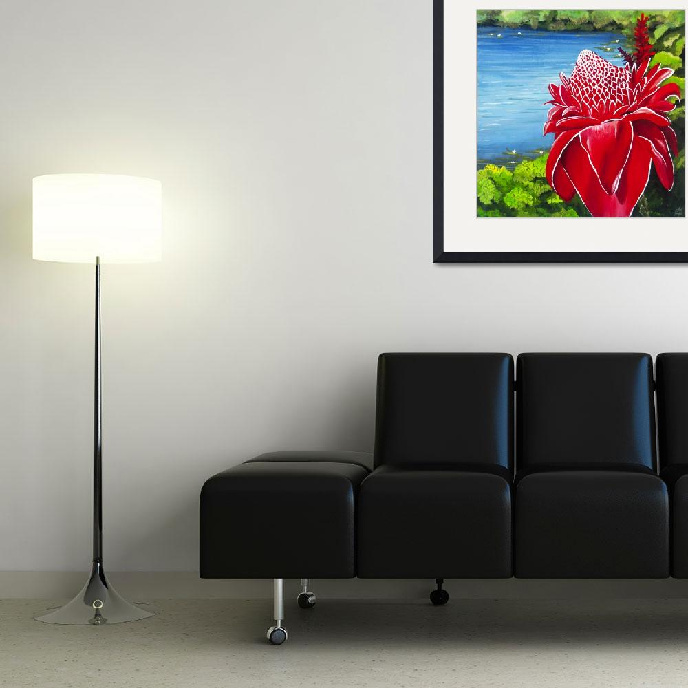 """Red Torch Ginger Lily&quot  (2013) by monicadowns"
