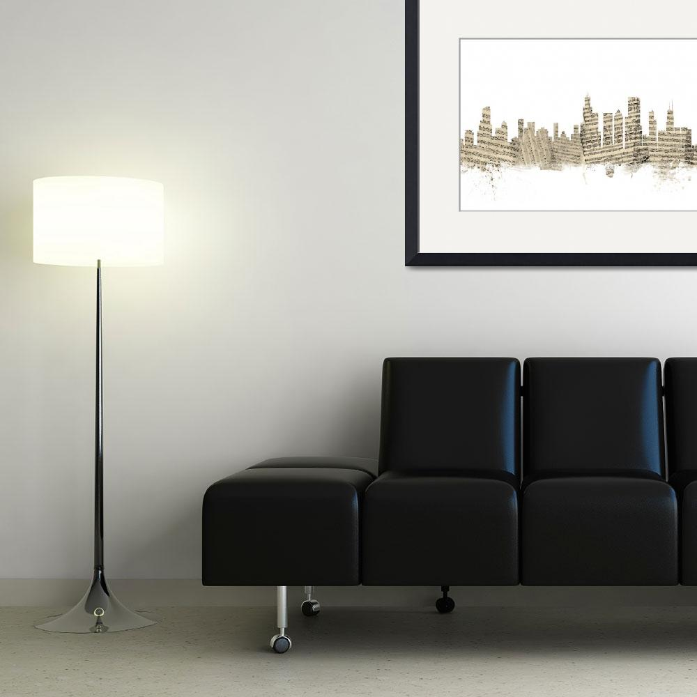 """Chicago Illinois Skyline Sheet Music Cityscape&quot  (2014) by ModernArtPrints"
