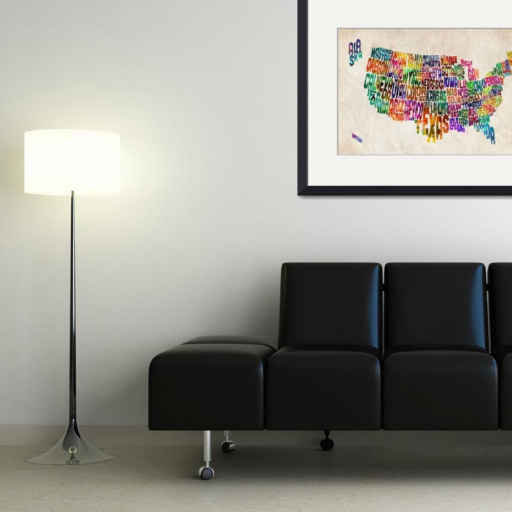 """United States Text Map&quot  (2012) by ModernArtPrints"