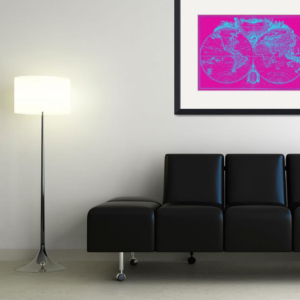 """World Map (1775) Pink & Blue&quot  by Alleycatshirts"