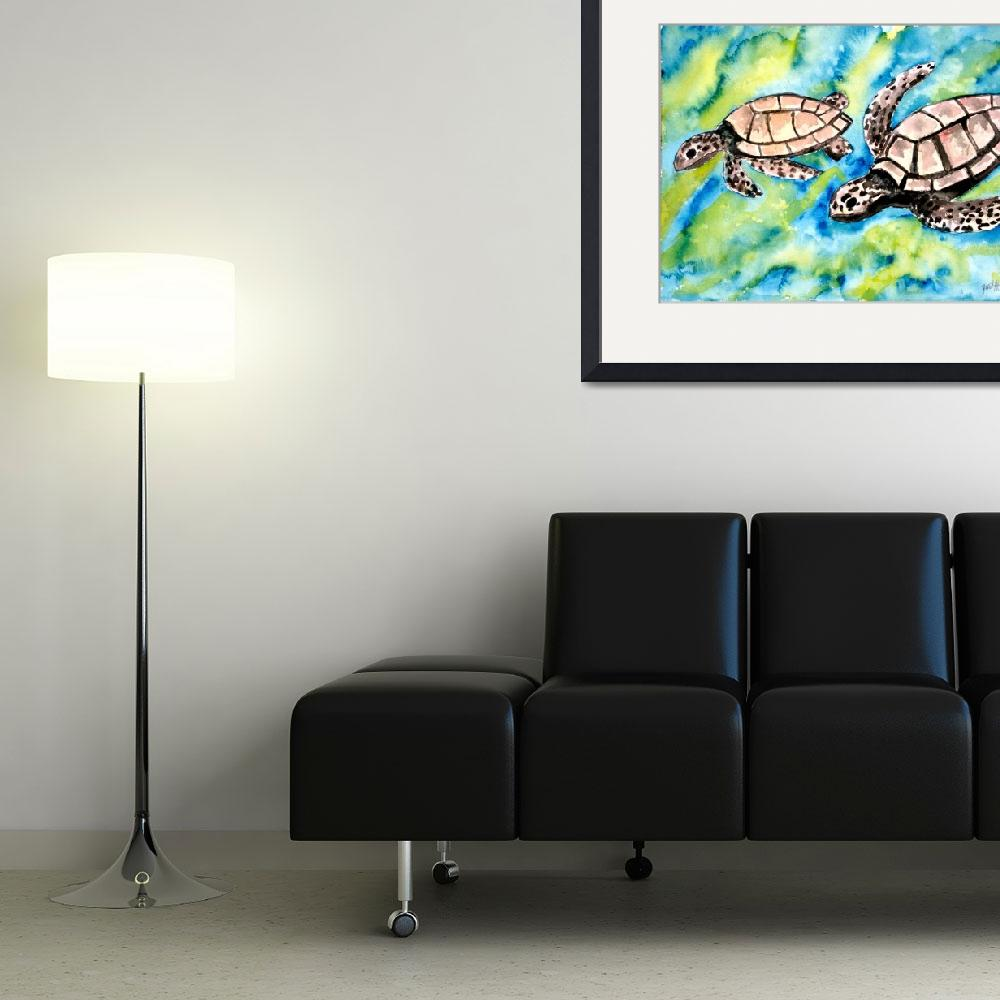 """pair of sea turtles watercolor painting&quot  (2008) by derekmccrea"