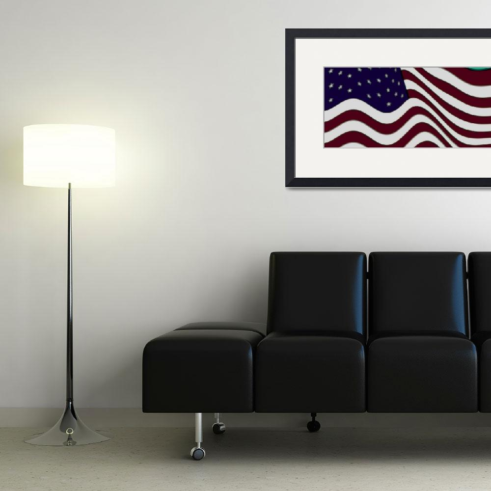"""Burgundy Grey Violet 50 Star American Flag Flying&quot  (2014) by TheNorthernTerritory"