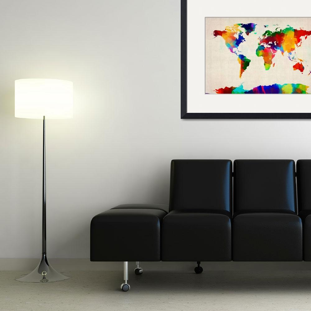 """Map of the World Map&quot  (2012) by ModernArtPrints"