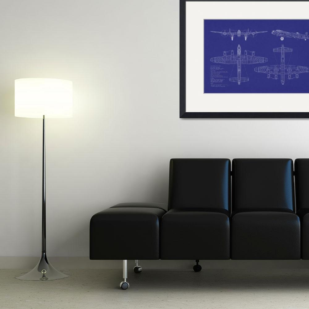 """Avro Lancaster Bomber Blueprint&quot  (2011) by ModernArtPrints"