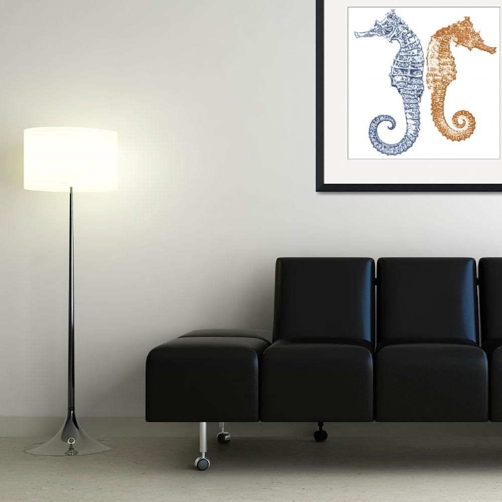 """Two Seahorses&quot  by maryostudio"