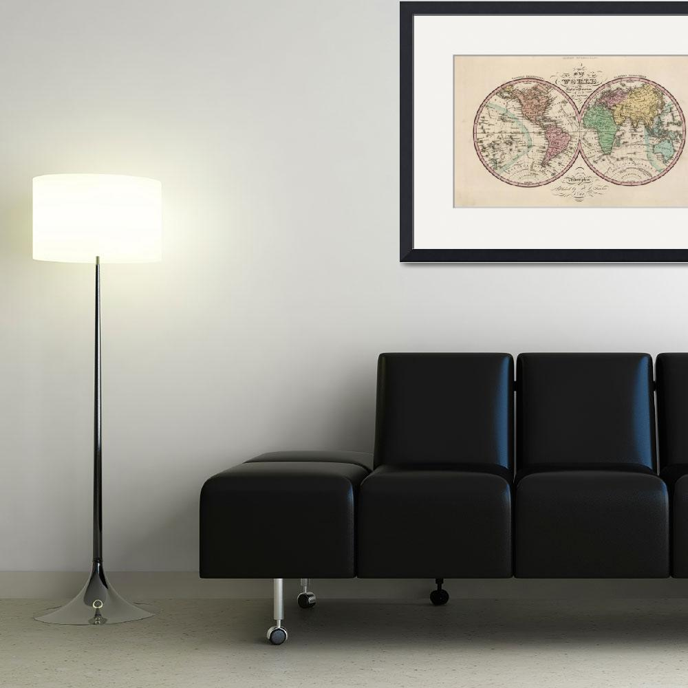 """Vintage Map of The World (1842)&quot  by Alleycatshirts"