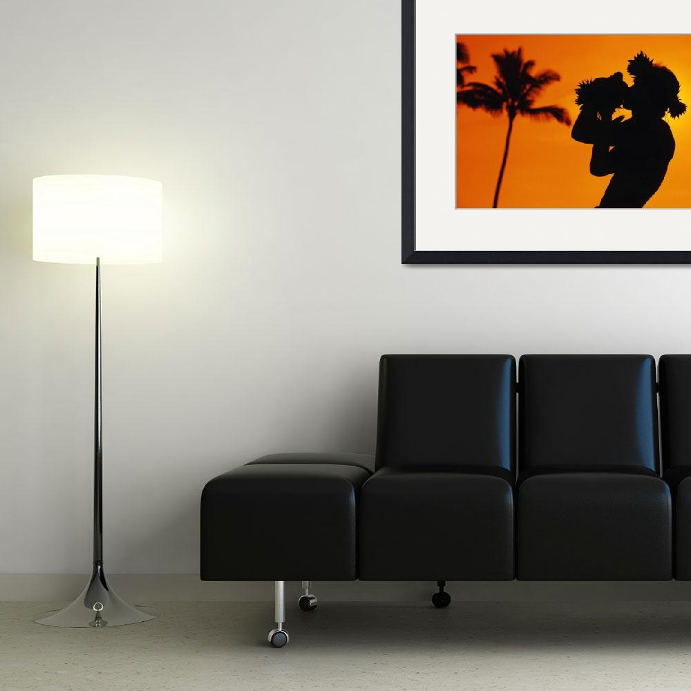 """Hawaii, Maui, Napili, Silhouette Of Man Blowing Co&quot  by DesignPics"