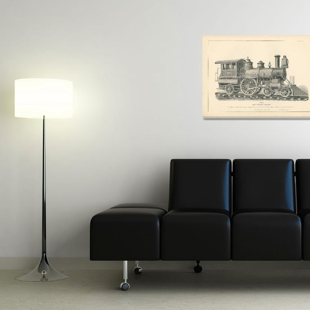 """Fig.43 - Fast Passenger Locomotive Engraving&quot  by archiveprints"