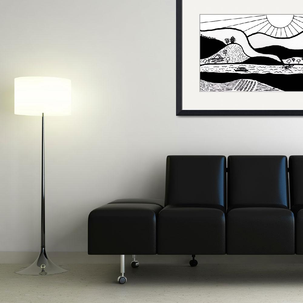 """Zen Sumi Paradise Garden Black Ink on White Canvas&quot  (2011) by Ricardos"